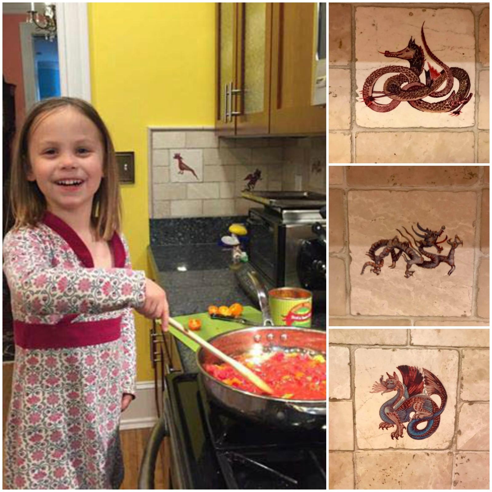 Dragon kitchen collage