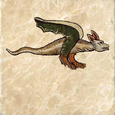 Franco-Flemish dragon, last quarter of 13th century; Dragon from Jacob van Mearlant bestiary, 14th century Flanders.
