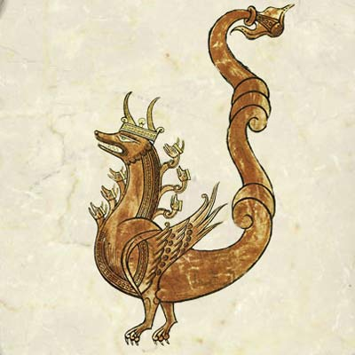 Lieber Floridus medieval encyclopedia 10-horned dragon of the Apocalpyse, 1090AD