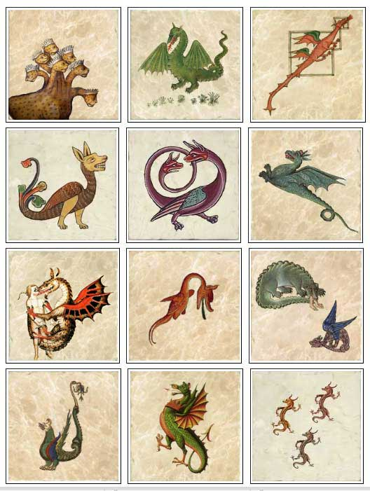 Medieval dragons on marble tiles, part 1