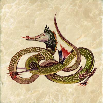 Infinity dragon based on JRR Tolkien drawing of a Middle Earth dragon