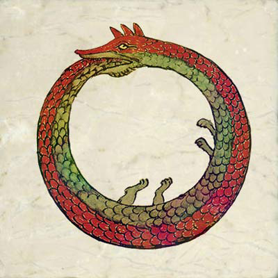 Ouroboros dragon from lost alchemical tract by Synesius, 4th century Byzantium