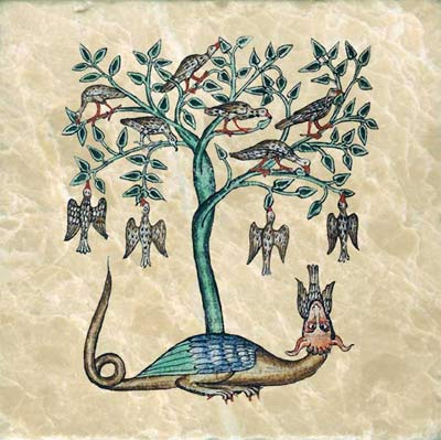 The peridexion tree of India. Doves gather in the safety of the peridexion tree for its sweet fruit.  The dragon fears the shadow of the peridexion tree and stays on its unshaded side. Doves in its tree or its shadow are safe; those leave it are caught and eaten by the dragon.