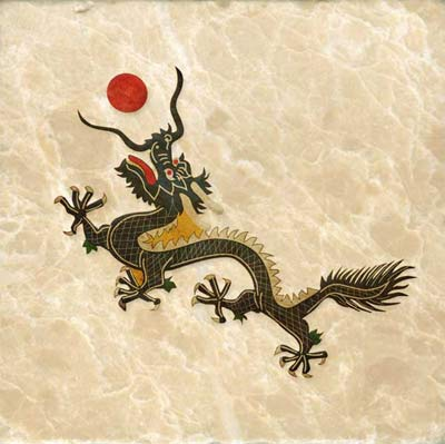 Qing dynasty dragon wih red pearl. This dragon was emblem on the Chinese flag up to 1912.
