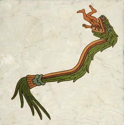 Aztec Quetzalcoatl dragon devouring a man