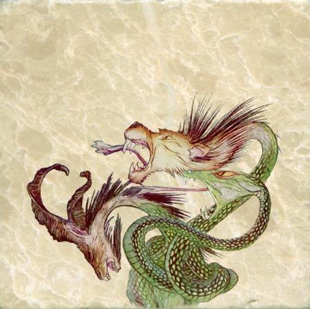 Three-headed dragon based on Arthur Rackham dragon