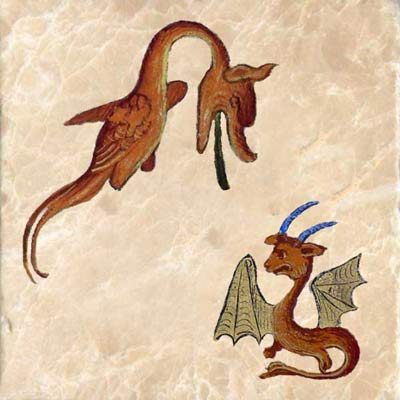 Two red dragons from the bestiary of Ludwig III, 9th century