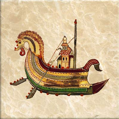 Viking dragonship from early Anglo-Saxon star chronicle