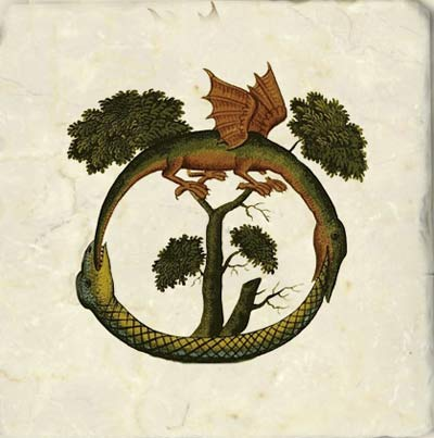 World dragon from the Clavis Artis, a German alchemical manuscript translated from Arabic into German in 1236