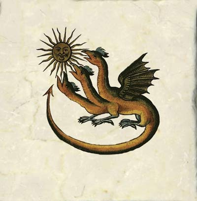 Zoroastrian dragon, late 17th century German translation