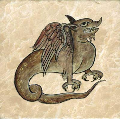 Like the cockatrice, the basilisk's gaze is deadly. The basilisk is hatched by a cockerel from the egg of a serpent. Its only enemy is the weasel.