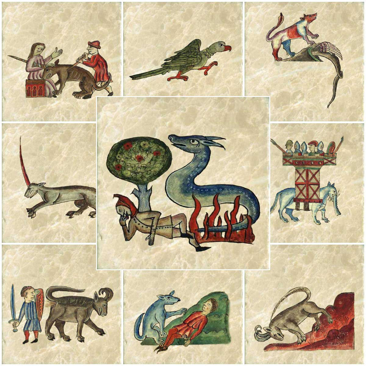 Bestiary of Anne Walshe, 1400-1445. From top left: remorseful virgin and unicorn, belled parrot, panther and dragon, monoceros, salamander, elephant, bonnacon, dog, ibex