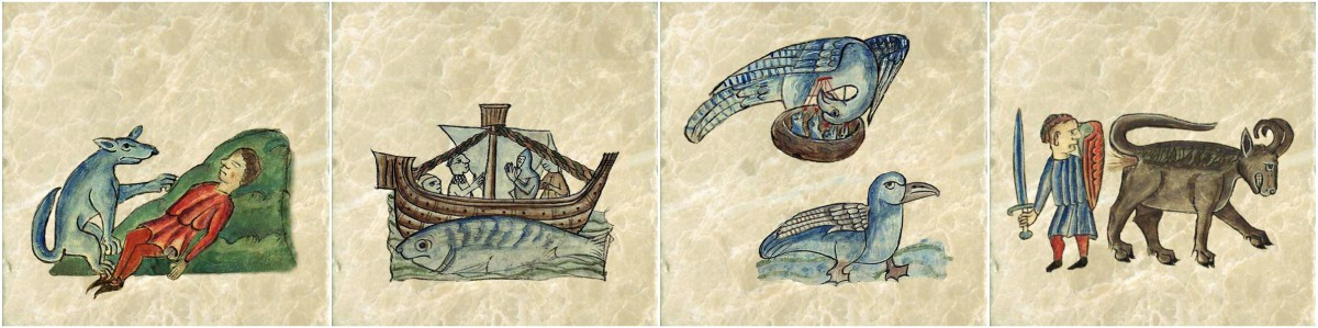 Anne Walshe bestiary tiles. From left: Dog healing a man of internal injuries, Aspidochelone (whale), pelican and kingfisher, bonnacon spraying burning projectile dung at its enemy