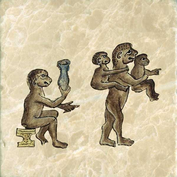 Bestiary of Anne Walshe. Anne's ape family has a mother carrying her twins, one in front and one in back, one points while the others look expectantly at something out of range.  The ape on the left appears to have an appreication for the arts, as he seens to be examining or making a vase.  There appears to be a tool of some sort in his hand.  Anne's apes are missing their tails.