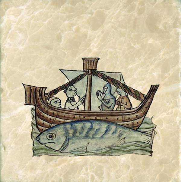 Aspidochelonefrom the Bestiary of Anne Walshe, 1400-1425. Sailors mistaking the whale for an island, land there in order to cook a meal. When the heat penetrates the skin, the whale dives, pulling down ship and sailors alike.