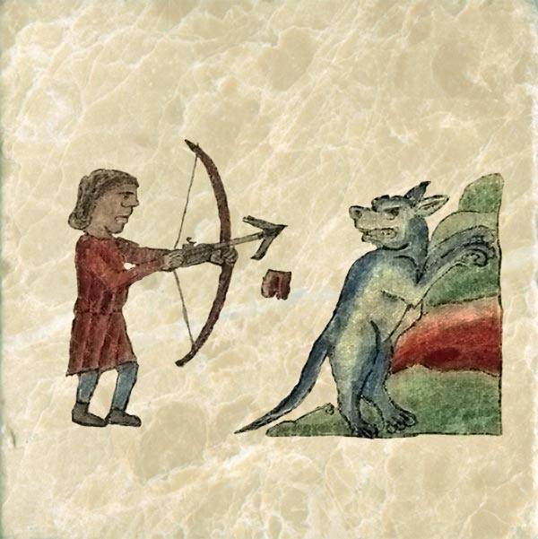 Beaver hunting, Bestiary of Anne Walshe. Beaver testicles were considered a key component in many medieval cures. Anne's beaver is standing on its hind legs to show that it no longer has its testicles, which hang in the air behind him.