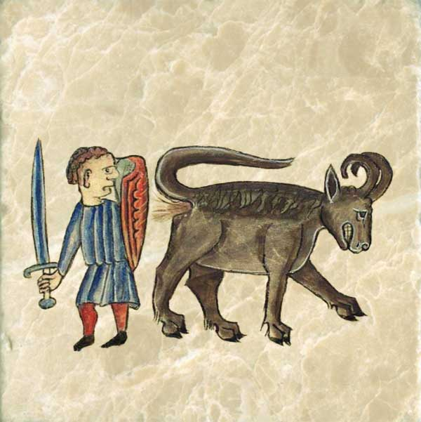 The bonnacon, with the mane of a horse andthe body of a bull has horns that are curved back, and thus useless for fighting. It saves itself by running away while emitting a projective of dung that scorchers pursuers as a sort of fire.
