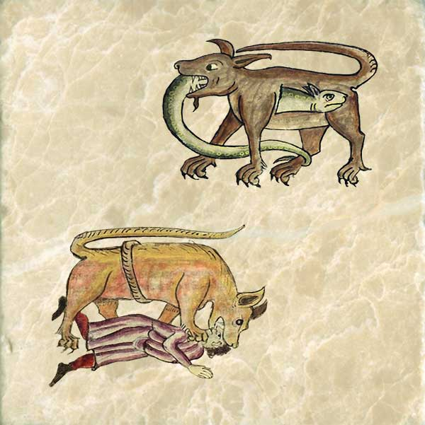 Crocodile from the Bestiary of Anne Walshe.  Crocodile eating a hydra but the hydra having none of it. Second choice: crocodile hunter.