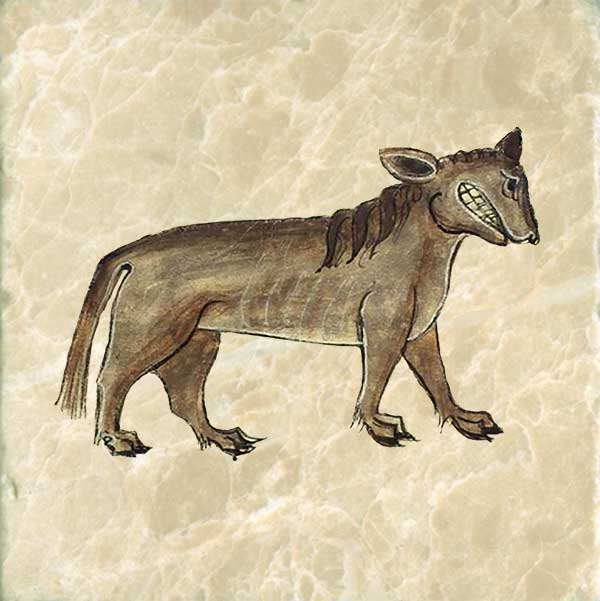 The Crocotta, a mythical dog-wolf of India or Ethiopia, is a deadly enemy of dogs and men. It can mimick sounds, human voices, and animal noises.