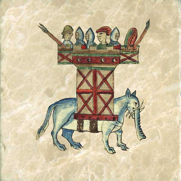 Persian or Indian elephants might bear a howdah or tower on its back, carrying soldiers. Anne's elephant has four tusks and cloven hooves.