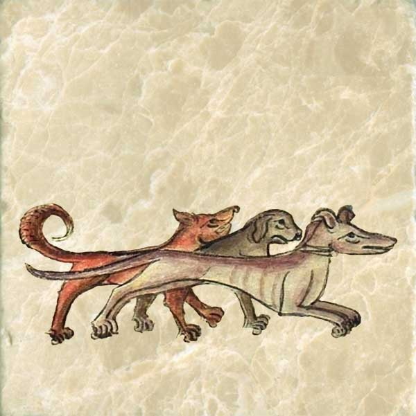 Bestiary of Anne Walshe: Three of King Garamantes' 200 hounds, on their way to rescue him