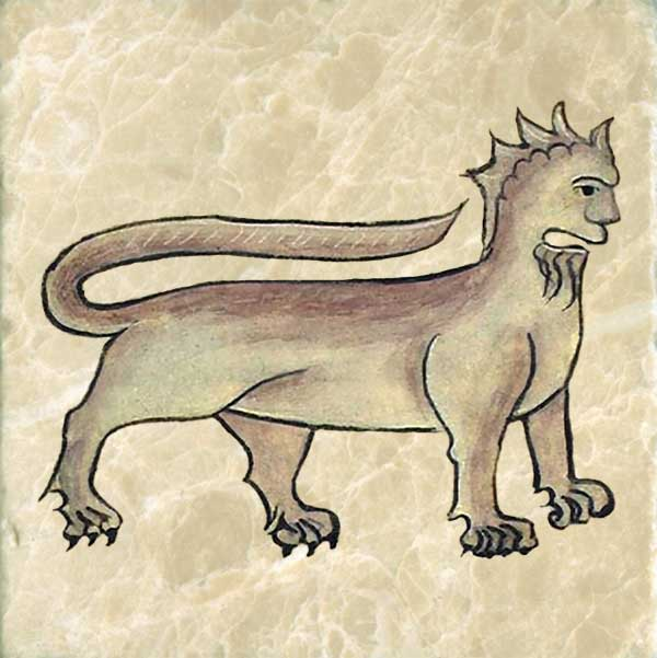 Anne Walshe's bearded manticore has a tail that curves over its back like a scorpion but the stinger is missing.