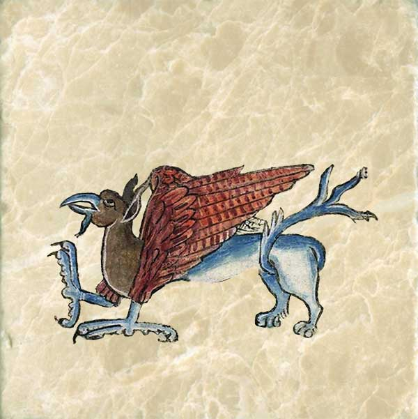 Consecrated to the sun, the gryphon has the body of a lion, and the head and wings of an eagle. Fiercer than dragons and more majestic than unicorns, they hoard gold and treasure and are strong enough to carry away an entire ox. Anne's griffin has both eagle claws and lion feet, but this is not the norm.