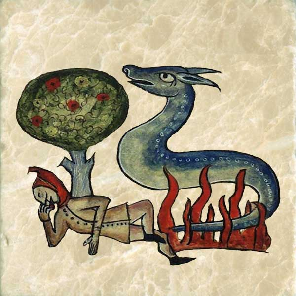 Salamander from the Bestiary of Anne Walshe, 1400-1425. Like the phoenix, the salamander is born of fire and can put out fires.