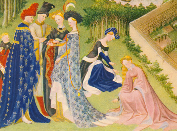 Detail from the month of April, showing a betrothal