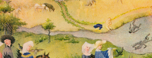Swans and swimmers in this detail for the month of August. Swans are the Duc de Berry's totem animal