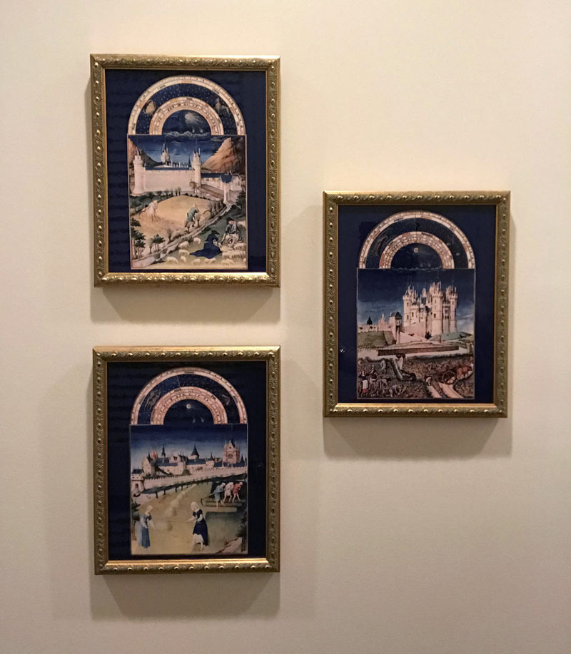 Book of Hours framed tiles on cobalt