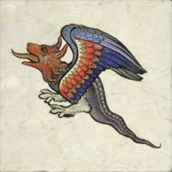 Late middle ages basilisk in flight
