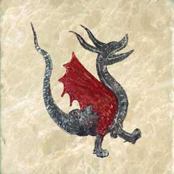 Happy red-winged dragon from the Morgan library bestiary