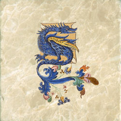 Blue dragon with flourishes from Harley bestiary