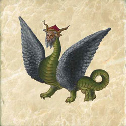 Harley bestiary dragon, with human head