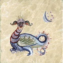 Dancing dragon from Il Libri de Diavolo, Codex Gigas Eight Century