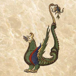 Liber Floridus dragon with tail ornament