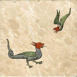 13th century red-headed bird-like dragons, Northern France