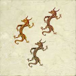 Three horned dragons, appearing to hitchhike