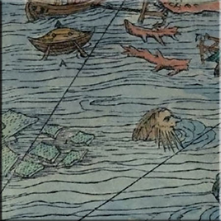 Old Man in the Sea, Carta Marina detail, accent tile