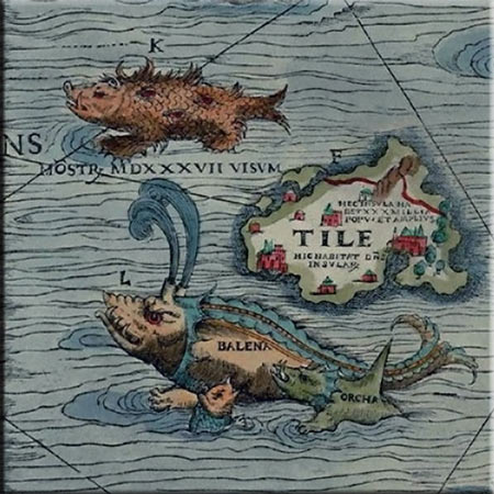 Carta Marina detail, Tile, or Thule (Island Beyond the Borders of the Known World) shown with a spined whale, and an orca, accent tile