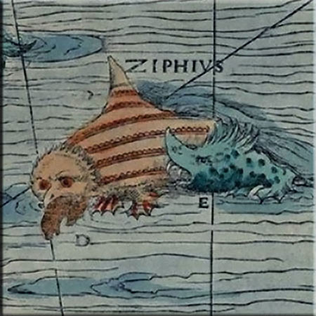 Carta Marina detail, the ziphius water owl eating a seal and under attack, accent tile