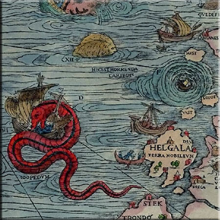 Carta Marina detail, Jormungandr sea serpent, tossed into the ocean by Odin, where it grew so long it eventually encircled the globe. He is more than 200 feet long and 20 feet thick. Accent tile