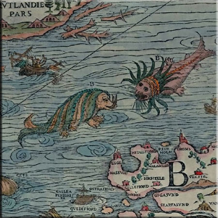 Carta Marina detail, Rosmarus confronting the Kraken. The Rosmarus raise themselves by their teeth to the top of rocks.  Accent tile