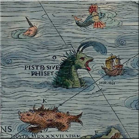 Carta Marina detail, eight-eyed sea swine. Its dragon feet spread around evil, its eyes representat temptations to others, the misplaced moon distorts the truth. Accent tile