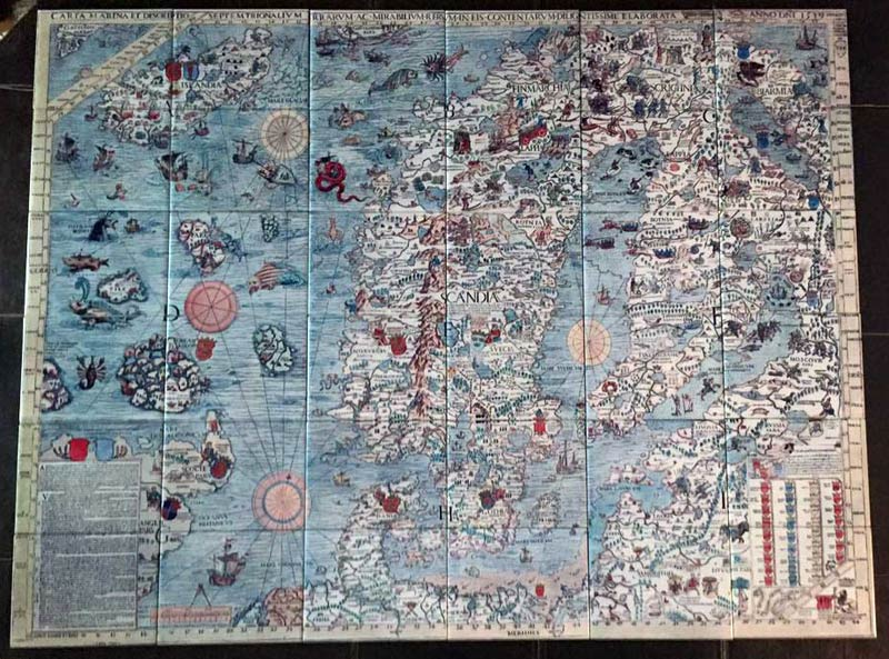 Medieval Sea Monster map of Scandinavia, drawn by Olaus Magnus in 1527-1539.  The Carta Marina is a navigation map, intended for sailors. Tile mural, 48 inches by 36 inches. from WilliamMorrisTile.com  Photo credit: Lisa Jordan Woodfield