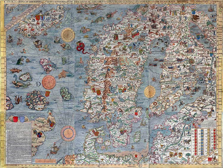 Carta Marina Map of Olaus Magnus, published 1539
