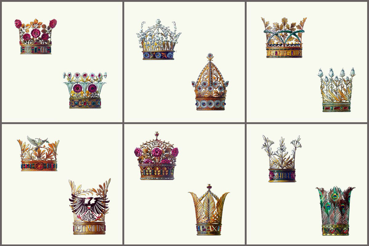 Flowers and Feathers Medieval Crowns ceramic tiles