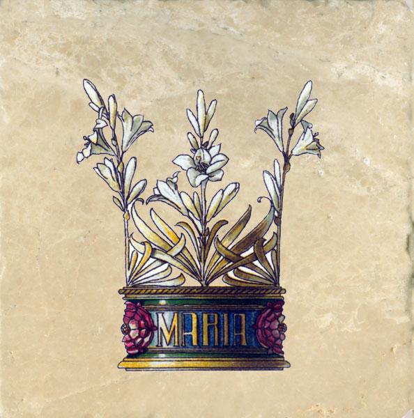 Art Nouveau Crowns Tile Set Medieval Flowers Amp Feathers