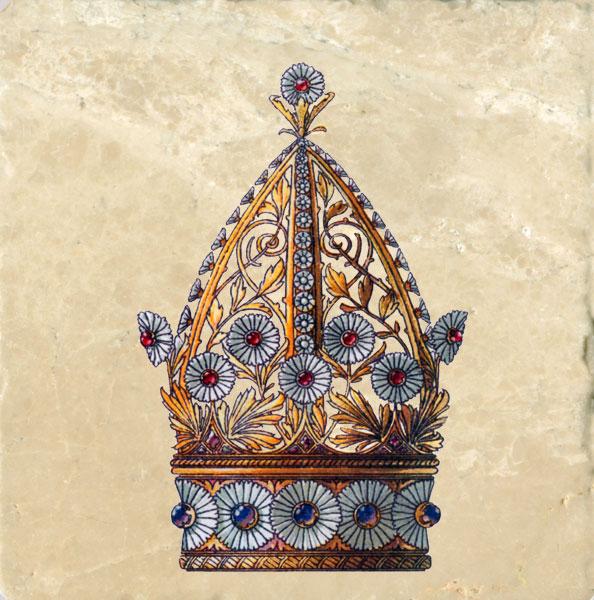 Art Nouveau Crowns Tile Set Medieval Flowers Amp Feathers Anton Seder 1890